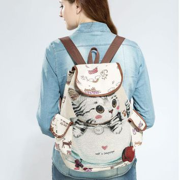 Little Kitten Printed  Canvas Backpack