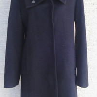 Cashmere Women's Coat Jacket  Black medium wool and cashmere coat - medium - 7 snap front - classic feminine - vintage 90's GAP