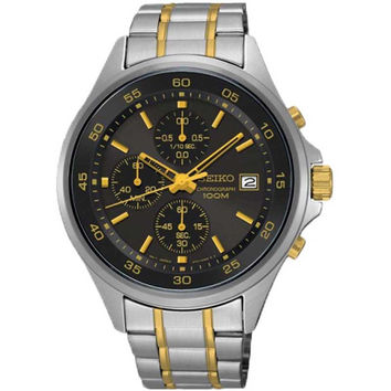 Seiko SKS481 Men's Watch Chronograph Gunmetal Dial Gold-Tone Accents Two-Tone Stainless Steel Band