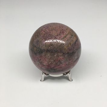 "357g, 2.4"" Natural Rhodonite Stone Sphere+ Free Nickel Stand @Madagascar,MS72"