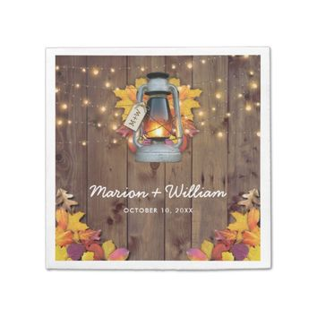 Rustic Fall String Lights Autumn Leaves Wedding Paper Napkin
