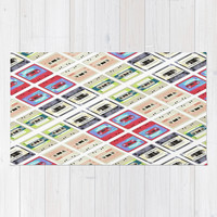 modern funny geeky colorful cassette tape pattern fashion art Rug by Chicelegantboutique