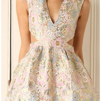 Party dresses > Floral Dress With Cut Out Sides