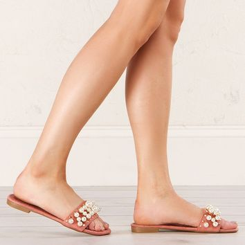 Pearl Detail Slip On Sandals in Dusty Pink