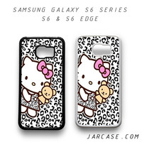 hello kitty leopard background Phone case for samsung galaxy S6 & S6 EDGE