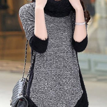 Color Block Long Sleeve Patchwork Sweater
