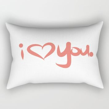 I Love You in Peach Rectangular Pillow by aeontextiles