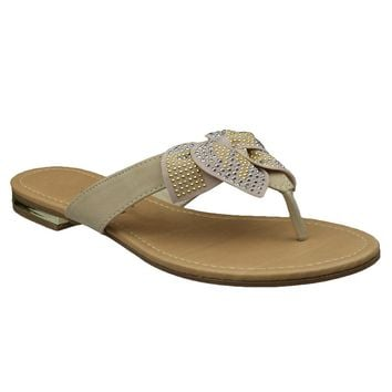 Womens Flat Sandals Studded Bow Accent Slip On Thong Sandal Beige