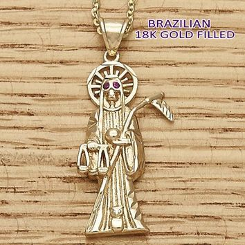 Gold Layered Men and Women Santa Muerte Religious Pendant, with Ruby Cubic Zirconia, by Folks Jewelry