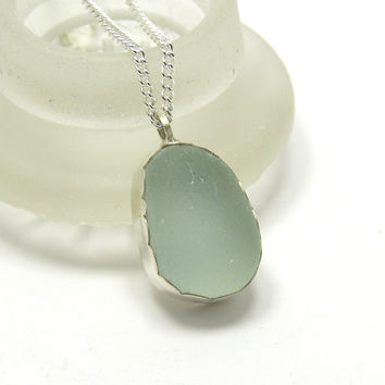 Pale Blue Sea Glass Necklace, Seaglass Necklace, Sea Glass Jewelry,  Beach Glass Jewelry, Sterling Silver Jewelry, Sea Glass Pendant, Bezel