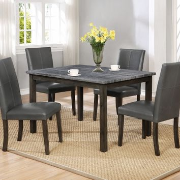 5 pc Pompei grey finish wood faux marble dining table set