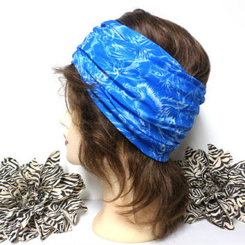 Blue, & White Headwrap, Yoga Headband, Wide Headband, Running Headband, Workout Headband, Turban Headband, boho, scarf, wrap
