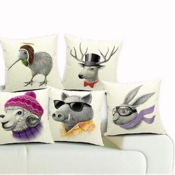 45*45cm Real High Qulity Kiwi Bird Printed Decorative Cushion Cover Wild Boar Deer Throw Pillow Case Car Seat Pillowcases