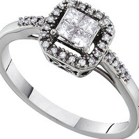 Round Princess Diamond Ladies Fashion Ring in 14k White Gold 0.26 ctw