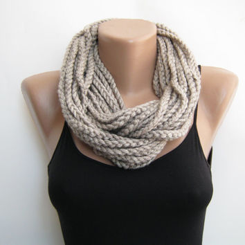 Oat meal crochet chain scarf,cowl,neck warmer, infinity scarf