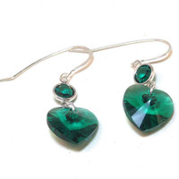 Emerald Earrings - Swarovski Crystal