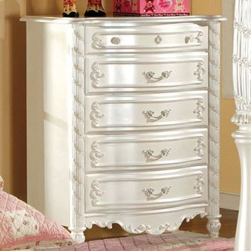 5 Drawers Wooden Chest In Traditional Style, White