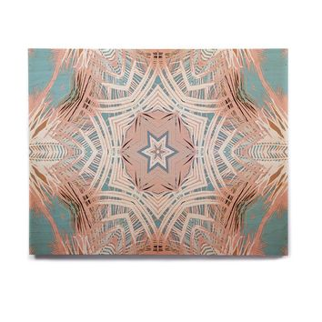 "Alison Coxon ""Tribe Coral And Teal "" Blue White Birchwood Wall Art"