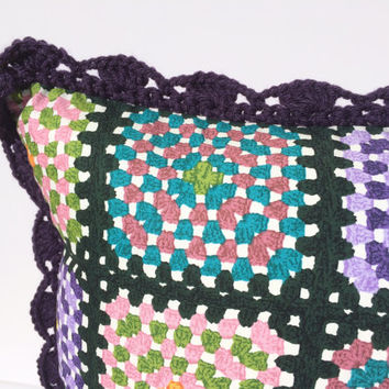 Purple Granny Square Crochet Throw Pillow Cover, Cotton Fabric Accent Pillow Cover, Crochet Scallop Edge Trim, Chic Home Decor Pillow Cover