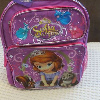 "DISNEY SOFIA THE FIRST LITTLE PRINCESS 14"" PINK BACKPACK W/MULTIPLE POCKETS"