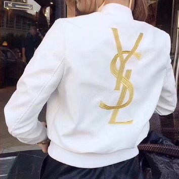 DCCKN6V YSL Fashion Women Embroidery Logo Leather Long Sleeve Cardigan Jacket Coat G-Y-GXYAL