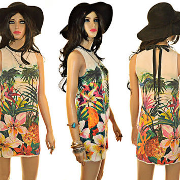Juicy Couture Silk Mini Dress Tropical Palm Trees Resort Black and White Back Bow Tie XS