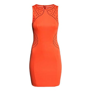 Orange Sleeveless Bodycon Dress with Cut Out