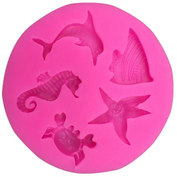 Dolphins hippocampus starfish fondant silicone mold kitchen baking chocolate pastry candy Clay making cupcake decoration FT-0104
