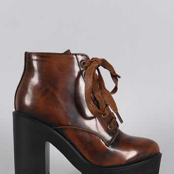 Bamboo Rustic Lace Up Lug Sole Bootie