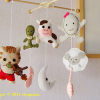 Over the Moon Antique Nursery Baby Crib Mobile by hingmade