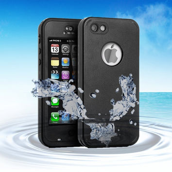 iPod Touch 5 Case, Caka Full-Body Waterproof Shockproof Dirtproof Durable Full Sealed Protection Case Cover With Kickstand Apple Ipod 5 5G - Black