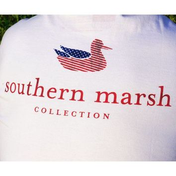 Southern Marsh Authentic Flag Tee in White by Southern Marsh