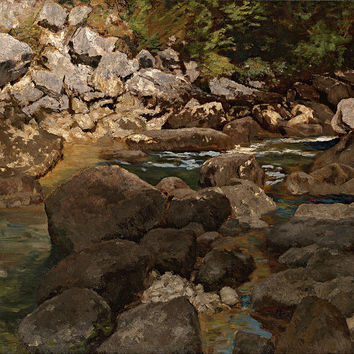 Canvas Art Prints Fabric Wall Decor Giclee Oil Painting Carl Schuch - Mountain Stream With Boulders