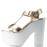 Gold Metallic T-Strap Chunky Platform Heels by Charlotte Russe