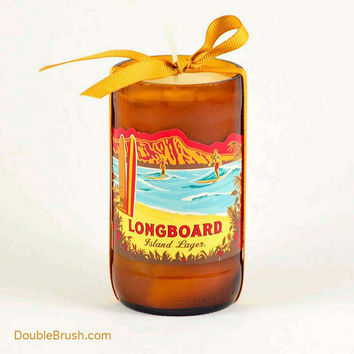Kona Brewery Longboard Glass Bottle Candle Big Island Hawaii