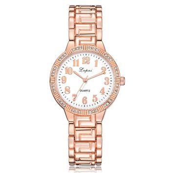 Lvpai Women's Watch Crystal Diamond Steel Belt Quartz Wrist Watch