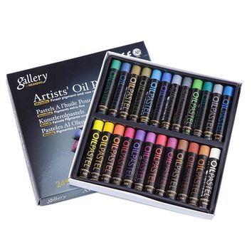 Soft Wax Crayons Metal Color Artist Drawing Set Art Set Stocks Art Supplies Oil Pastel 24 Colors/Set