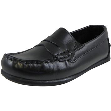 Florsheim Boy's Jasper All Leather Classic Slip On Moccasin Oxford Loafer Shoes Black