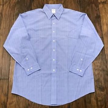 Brooks Brothers 346 Non Iron Blue Glen Plaid Print Button Up Shirt Mens 17 - 4/5