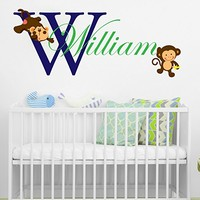Monkey Animal Personalized Name Initial Wall Decal Full Color Mural for Nursery Boys Name Colorful Vinyl Sticker SD11