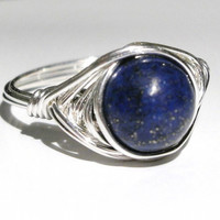 Silver filled lapis lazuli wire ring