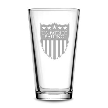 Premium US Patriot Sailing Pint Glass, 15.3oz Deep Etched Beer Glass, Made in USA