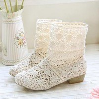 Woman lace casual short boots shoes spring summer beige