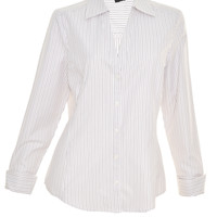 Ann Taylor Oxford French Cuff Shirt (Gray Striped)