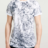 BLACK SMOKE WASH ROLLER T-SHIRT - Topman
