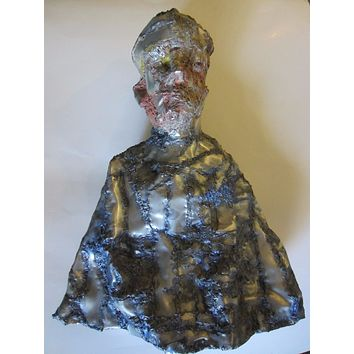 Abstract Portrait Bust Hand Formed Tin Sculpture