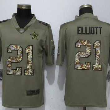 New Nike Dallas Cowboys 21 Elliott Olive/Camo Carson 2017 Salute to Service Limited Jersey
