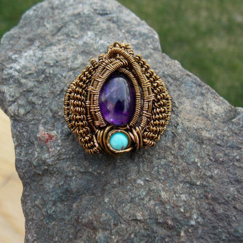 Wire Wrapped Pendant with Purple Fluorite and Turquoise // Heady Wirewrap Necklace