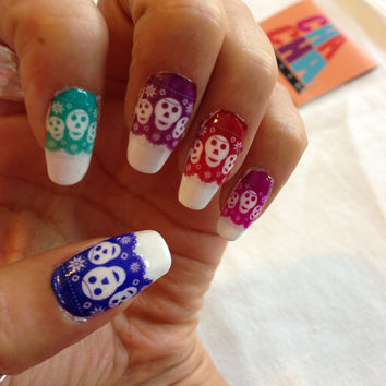 Calavera Papel Picado Clear Nail Decals Mexican Day of the Dead