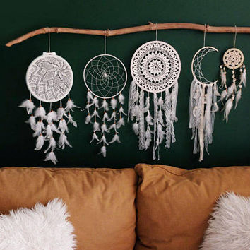 Bohemian Home Decor, White Dreamcatcher, Large Dreamcatcher Wall Hanging, Boho Wall Decor, Boho Bedroom Decor, Bedroom Decor, Hose Decor